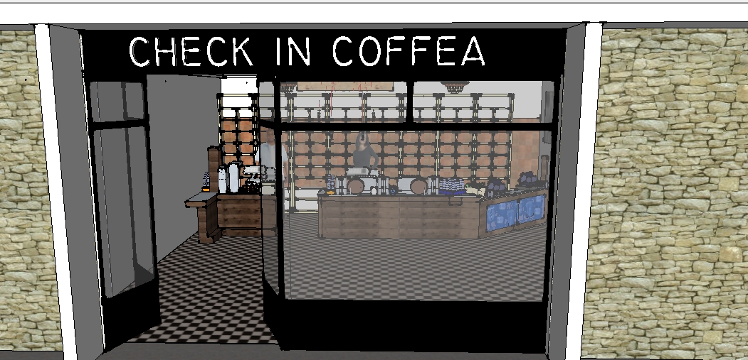 Coffee shop 3D design Sketchup files front