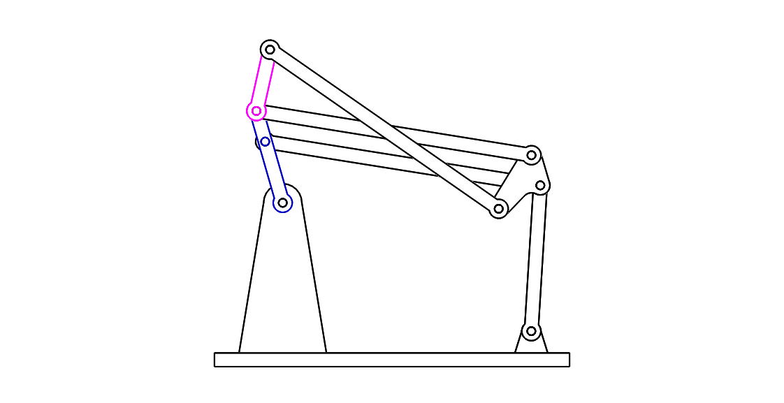 Four bar linkage parallel Solidworks assembly files side view