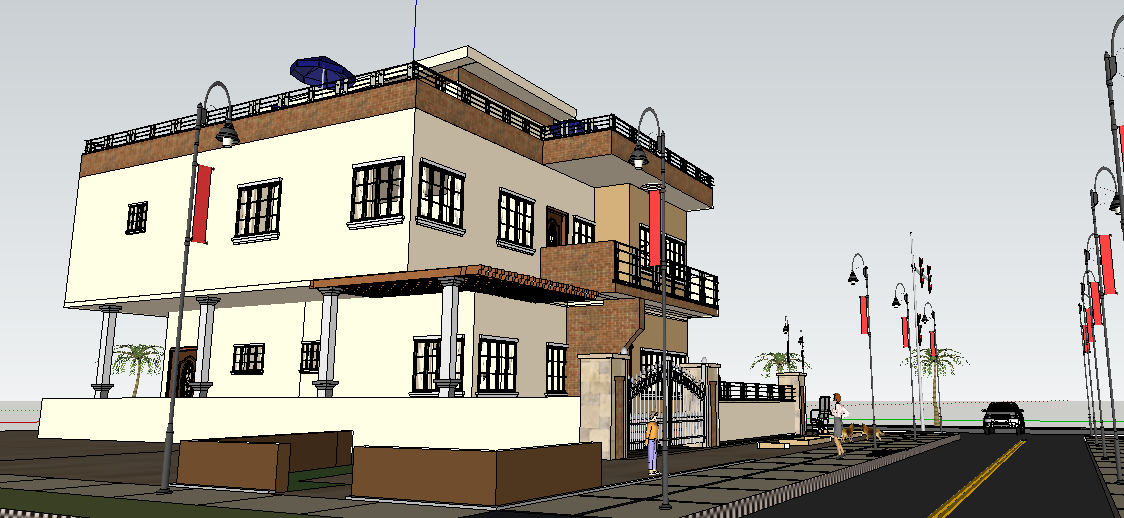 G+3 residential building with terrace top side