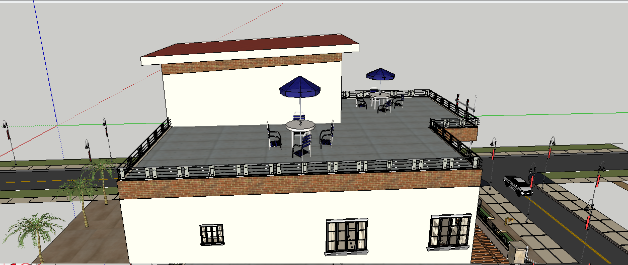 G+3 residential building with terrace top sketchup files