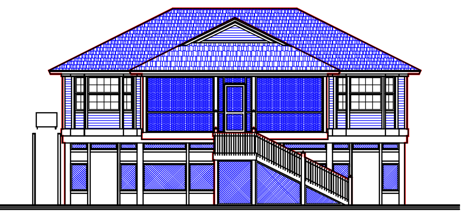 One Story Residential House design AutoCAD file