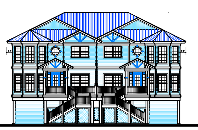 Three Story House design Complete AutoCAD file