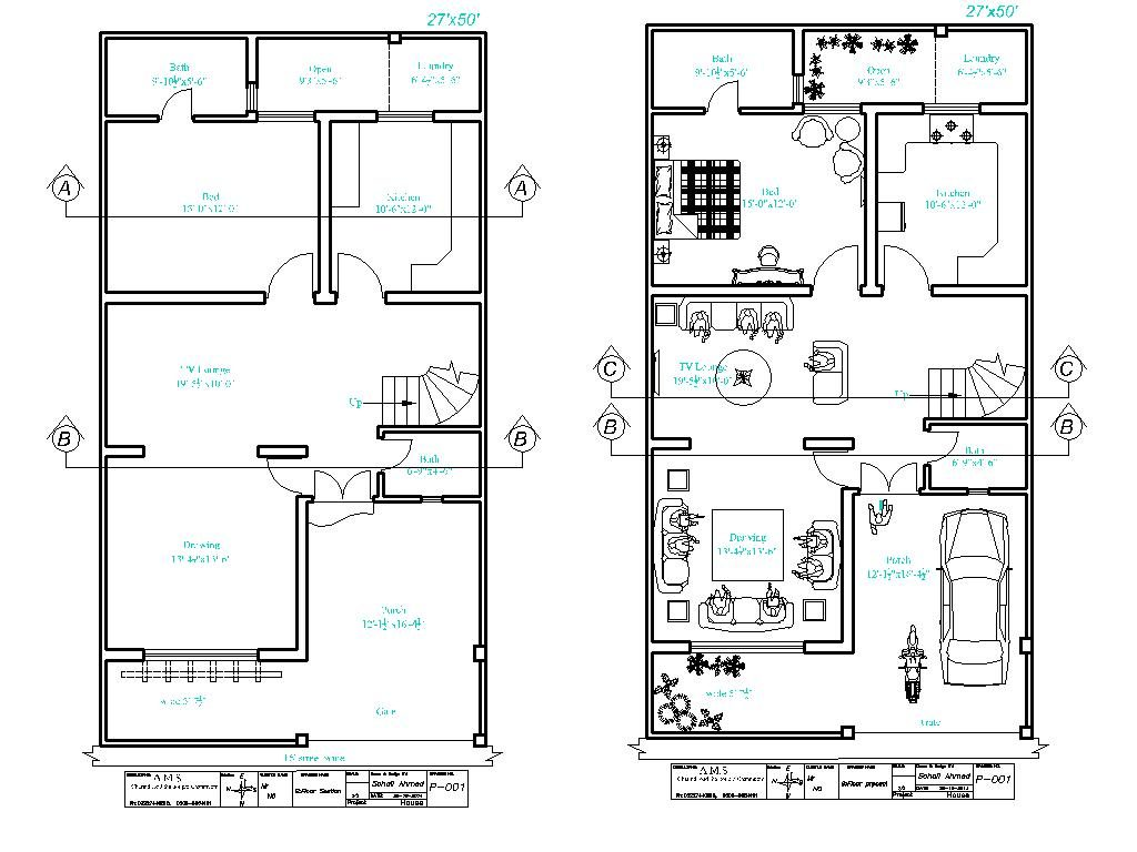 27 X 50 House Floor Plan File For Free Download Editable Files